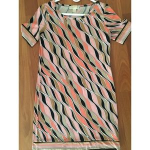 Michael Kors Pink & Coral 70s Style Shift Dress- S